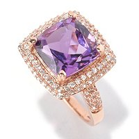 14K RG CUSHION CUT AFRICAN AMETHYST WITH WHITE ZIRCON ACCENT RING