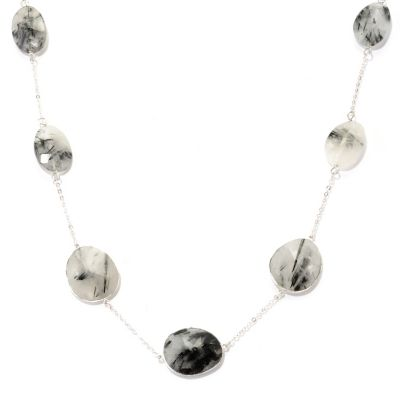 "128-818 - Gem Treasures Sterling Silver 24"" Black & Grey Rutilated Quartz Station Necklace"