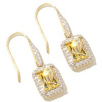 Rectangular Tycoon Cut Halo Drop Earrings