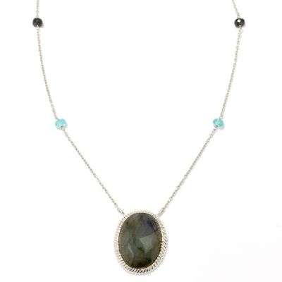 "128-836 - Gem Insider Sterling Silver 18"" Labradorite, Apatite & Spinel Station Necklace"