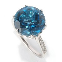 SS ROUND LONDON BLUE TOPAZ SOL RING W/ WHITE TOPAZ ACCENTS