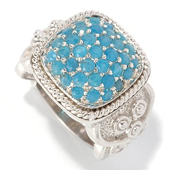 128-842 - Gem Treasures Sterling Silver 1.60ctw Neon Blue Apatite Square Ring