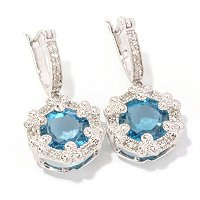 SS LONDON BLUE 3 BEZEL PRONG DROP EARRING