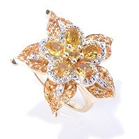 14K YG FLOWER WITH YELLOW SAPP RING