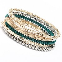 METALLIC AND COLOR BEAD COIL OLIVIA BRACELET