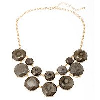"18"" + 3"" EXT FACETED GREY DOUBLE ROW SADIE NECKLACE"