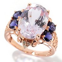 14K RG OVAL KUNZITE AND IOLITE ACCENT RING