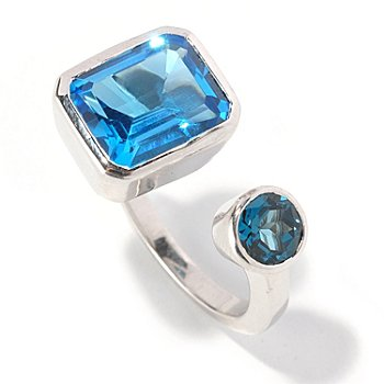 128-878 - Gem Treasures Sterling Silver 6.26ctw Blue Topaz Multi Shape Split Ring