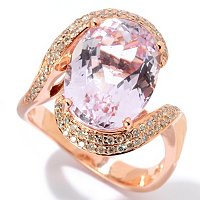14K RG LARGE OVAL KUNZITE AND DIAMOND RING