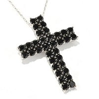 SS 2 ROW CROSS BLACK SPINEL PEND W/ CHAIN