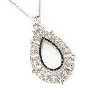 SS TEAR DROP PEND WITH BLK SPINEL WHT TOPAZ ACCENT PEND WITH CHAIN