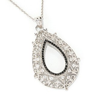 128-894 - Gem Treasures Sterling Silver Black Spinel & Topaz Teardrop Pendant w/ Chain