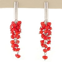 SS DROP RED CORAL CHOICE EARRING OR PEND