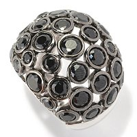 SS DOME BUBBLE RING BLK SPINEL