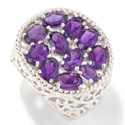 128-901 - Gem Insider Sterling Silver 4.43ctw Amethyst Oval Shaped Filigree Ring