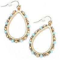 GWIN GOLDTONE BEADED TEARDROP EARRINGS