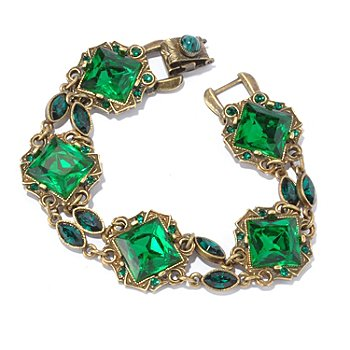 128-914 - Sweet Romance™ Gold-tone 7.5'' Green Crystal Bracelet