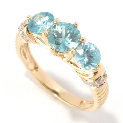 128-930 - Gem Treasures 14K Gold 2.66ctw Zircon & Diamond Three-Stone Band Ring