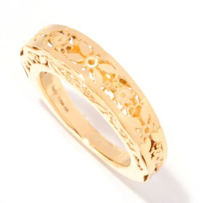 128-931 - Italian Designs with Stefano 14K Gold Floral Ricami Ring