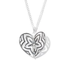 "SS 32"" LATTICE LARGE APPLIQUE HINGED HEART NECKLACE"