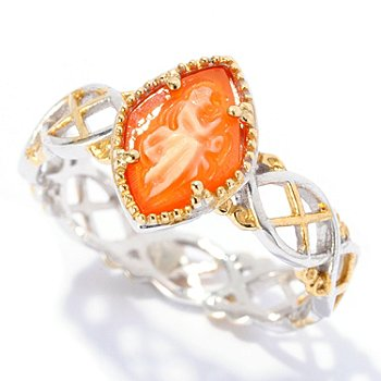 128-945 - Gems en Vogue II 9 x 6mm Carved Shell Cameo Stack Band Ring