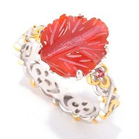 SS/PALL RING CARVED DYED RED AGATE STACK
