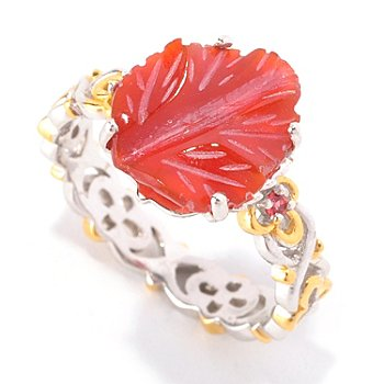 128-946 - Gems en Vogue II 12 x 10mm Carved Red Agate & Orange Sapphire Stack Band Ring