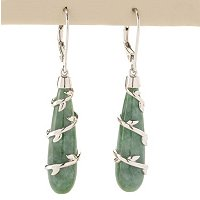 SS TEAR DROP RUSSIAN JADEITE EARRING