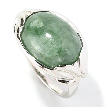 128-954 - Gem Insider Sterling Silver 16 x 12mm Oval Jadeite East-West Ring