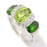 SS PERIDOT WITH CHROME WHT SAPP ACCENT RING