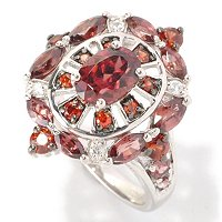 SS BROWN ZIRCON WITH RED AND WHT ZIRCON ACCENT RING