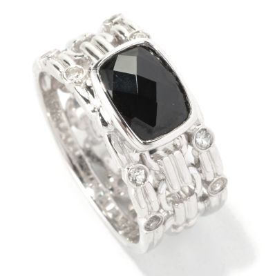 128-960 - Gem Insider Sterling Silver 1.24ctw Black Spinel & White Sapphire Ring
