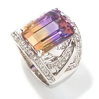 SS EMERALD CUT AMETRINE WHT SAPP RING