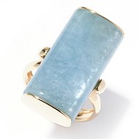 EG - SS/18KGP RING HALF BARREL-CUT AQUAMARINE