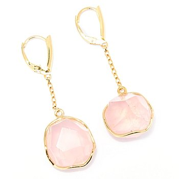 128-967 - Gems of Distinction Rough Cut Gemstone Chain Drop Earrings w/ Lever Backs
