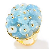 EG - SS/18KGP RING AQUAMARINE MULTI BEAD