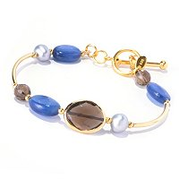 EG - SS/18KGP BRAC KYANITE & SMOKY QTZ BANGLE