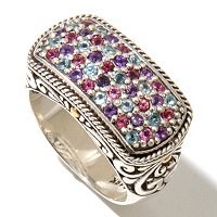SS/18K MULTI GEM RING
