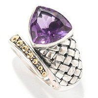 SS/18K TRILLION CUT AMETHYST BYPASS RING