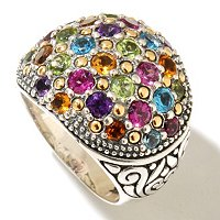 SS/18K MULTI GEM CENTER RING