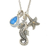 "SS/18K 30"" BLUE CHALCEDONY SEA LIFE CHARM NECKLACE"