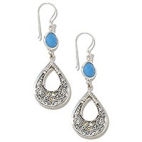 SS/18K TEARDROP SHAPE BLUE CHALCEDONY EARRINGS W/DANGLES
