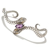 SS/18K AMETHYST SNAKE BANGLE BRACELET