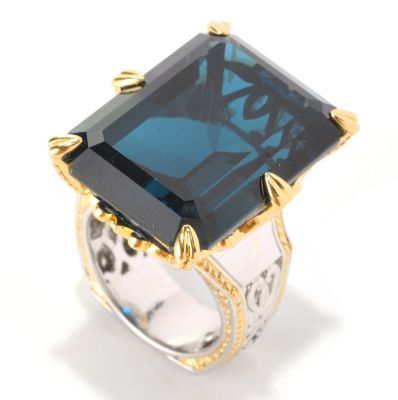 "128-989 - Gems en Vogue II 50.04ctw London Blue Topaz & Sapphire ""New Yorker"" Ring"