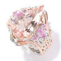 SS/PALL RING PEAR-SHAPED MORGANITE & PINK SAPH