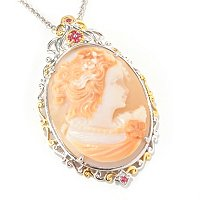 "SS/PALL PEND 40MM REVERSE-CARVED PORTRAIT CAMEO ENHANCER w/ 18"" CHAIN"