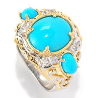 SS/PALL RING SLEEPING BEAUTY TURQUOISE & WHITE SAPH