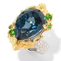 SS/PALL RING PEAR-SHAPED LONDON BLUE TOPAZ SCULPTED METAL MERMAID