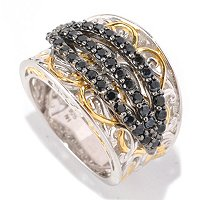 SS/PALL RING 3-ROW BLACK SPINEL WIDE CIGAR BAND