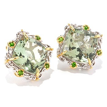 129-004 - Gems en Vogue II 15.76ctw Prasiolite & Chrome Diopside Stud Earrings